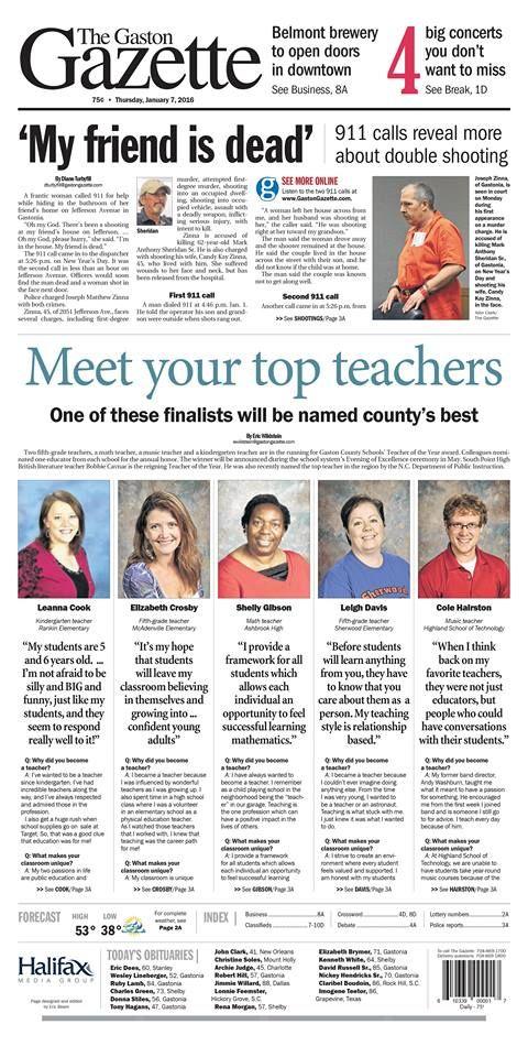 The Gaston Gazette - Jan  7, 2016: Gaston County's top 5