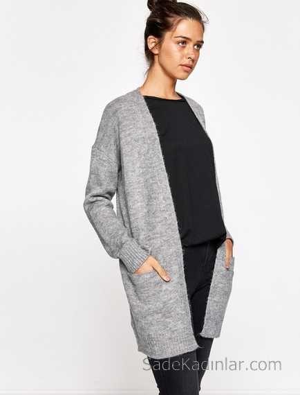 Koton 2019 2020 Sonbahar Kis Koleksiyonu Kazak Ve Hirka Modelleri Gri Hirka Duz Yaka Onden Buyuk Cepli Hirkalar Kazak Elbise Sonbahar
