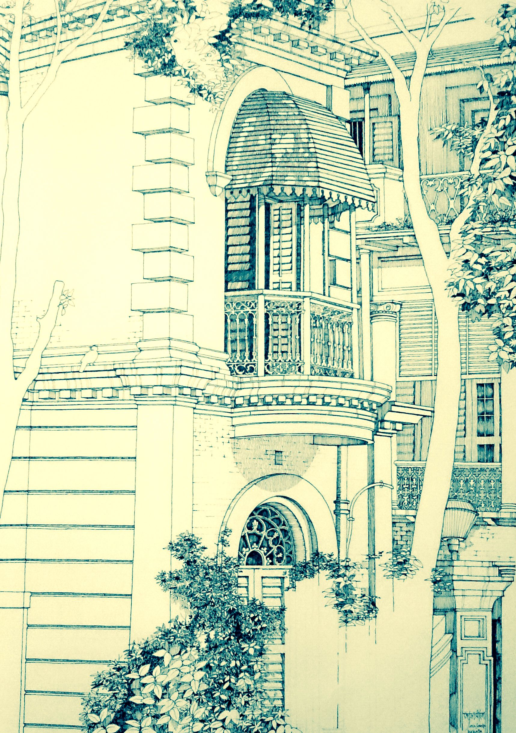 Jorasanko tagores ancestral home in kolkata pen on paper