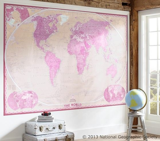National Geographic World Map Murals.National Geographic World Map Murals Pottery Barn Kids Globes
