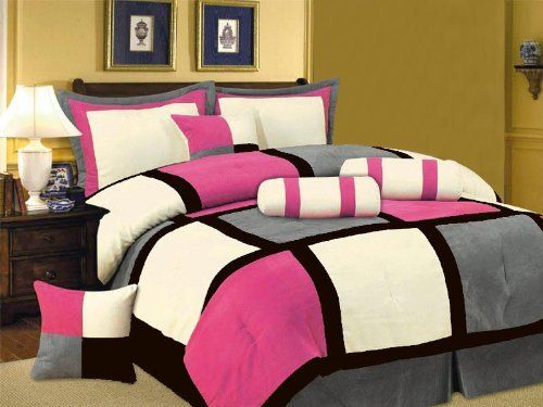7 PC MODERN Black Hot Pink White Gray Suede COMFORTER SET...  ... : hot pink quilt queen - Adamdwight.com