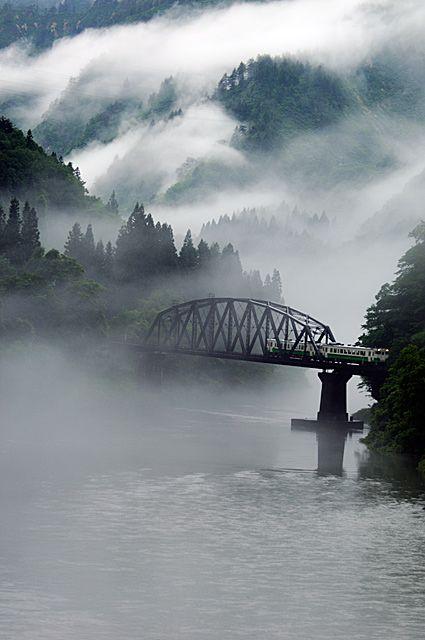 Aizu, Fukushima Japan- train bridge and mist