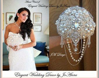 Champagne Brooch Bouquet Ivory and Silver by Elegantweddingdecor