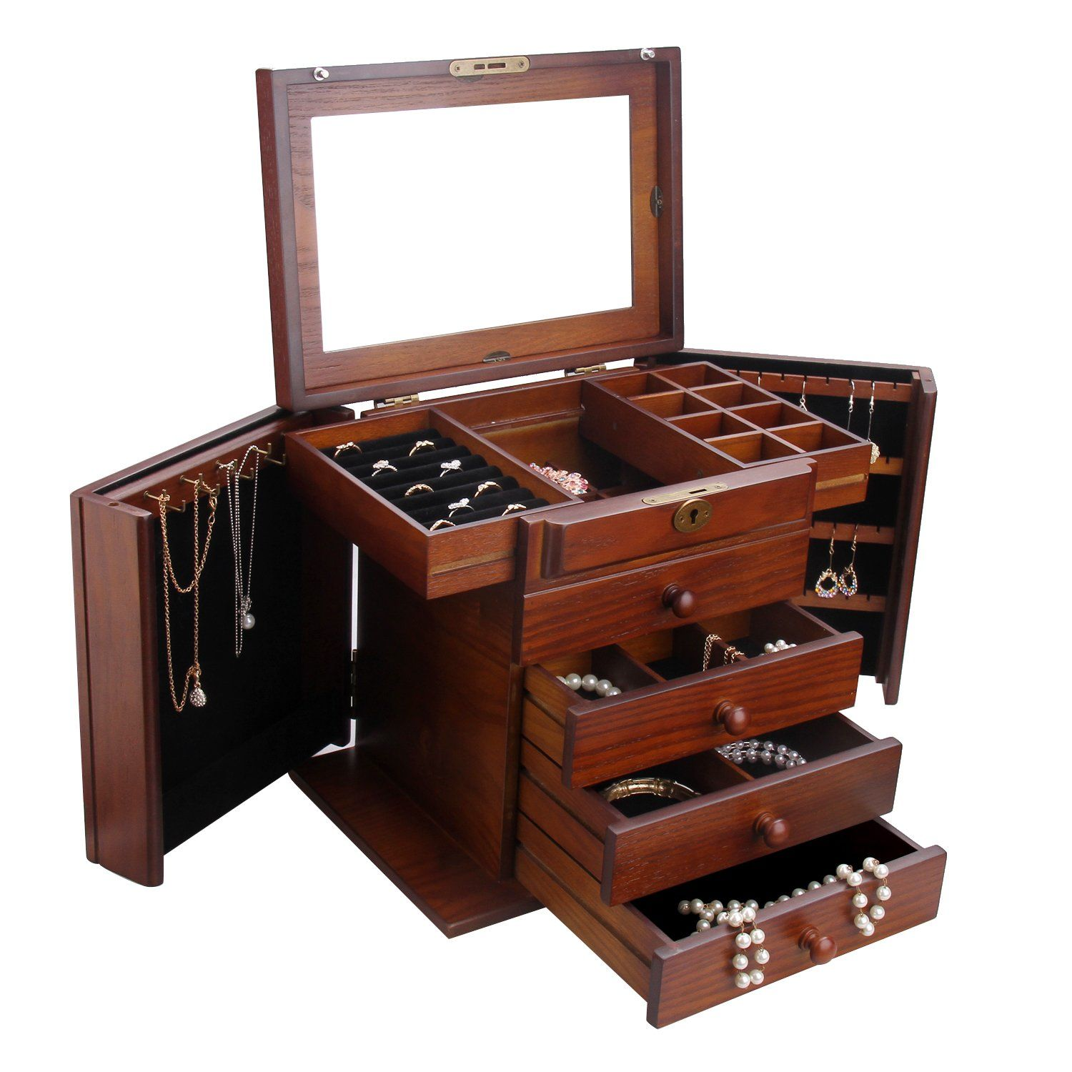 Extra large wooden jewelry box jewel case cabinet armoire ring