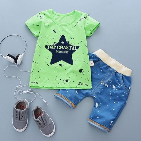 31438d560364 Child 2018 summer infant baby boy clothes outfits sports suits 2pcs ...