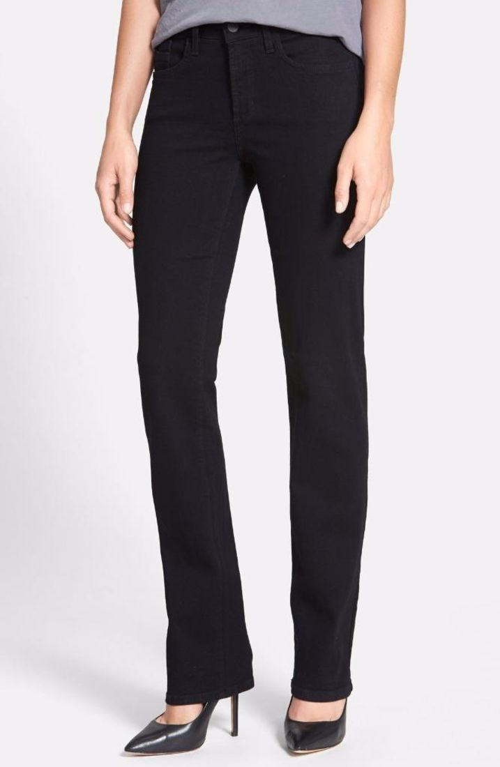 Nydj Petite Hayley Straight Jeans Black 14P $114 FTC #4209