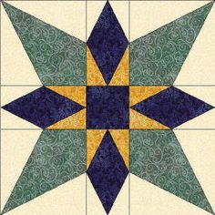 50 States- Oklahoma Free Star Quilt Block Pattern