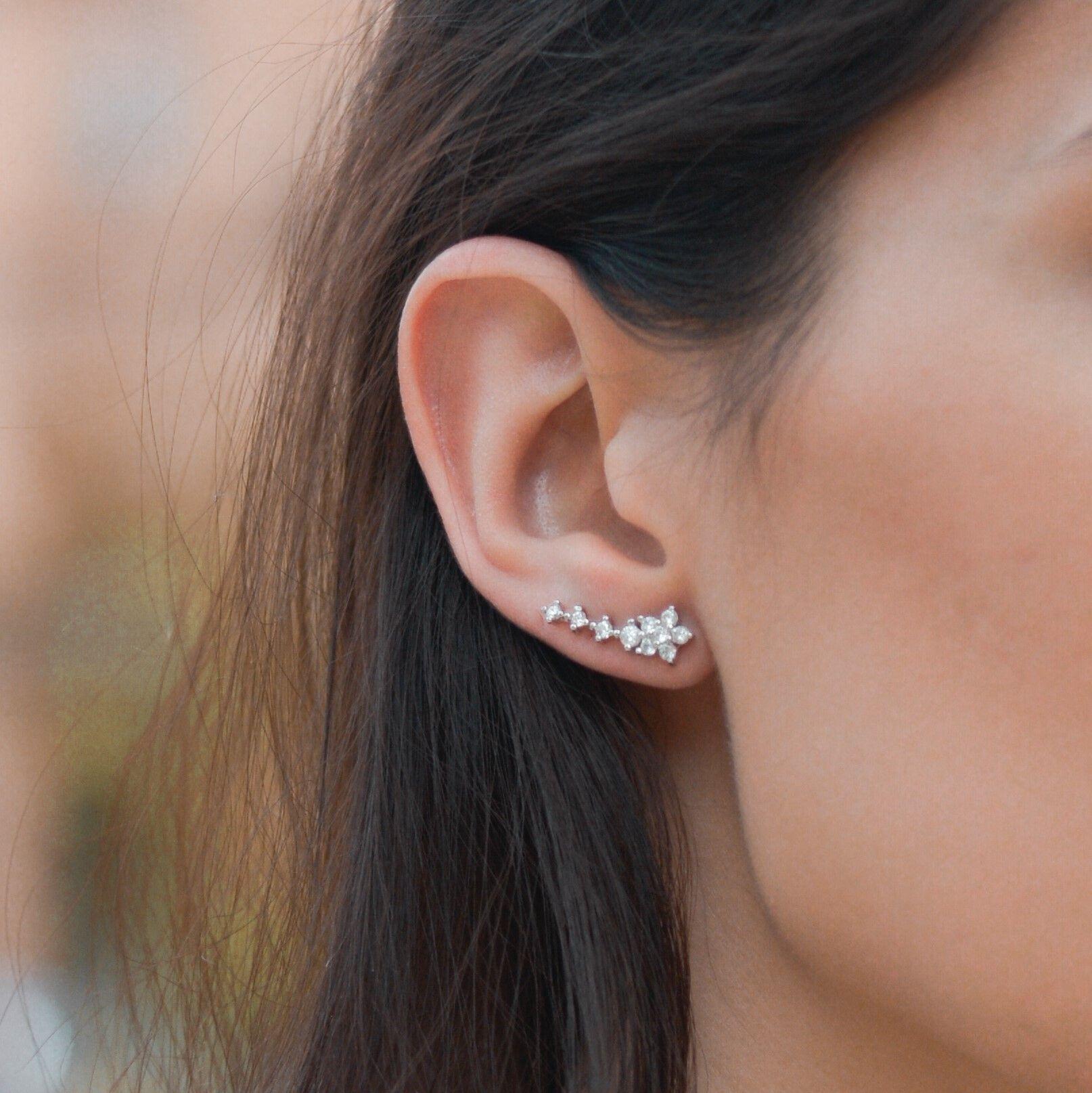 f26dd5249a04 Pendientes trepador flor. Plata 925 milésimas con circonitas  Vazón   earrings  silver