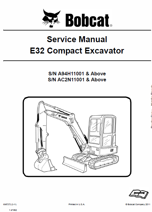 Bobcat E32 Compact Excavator Service Manual Repair Manuals Operation And Maintenance Excavator