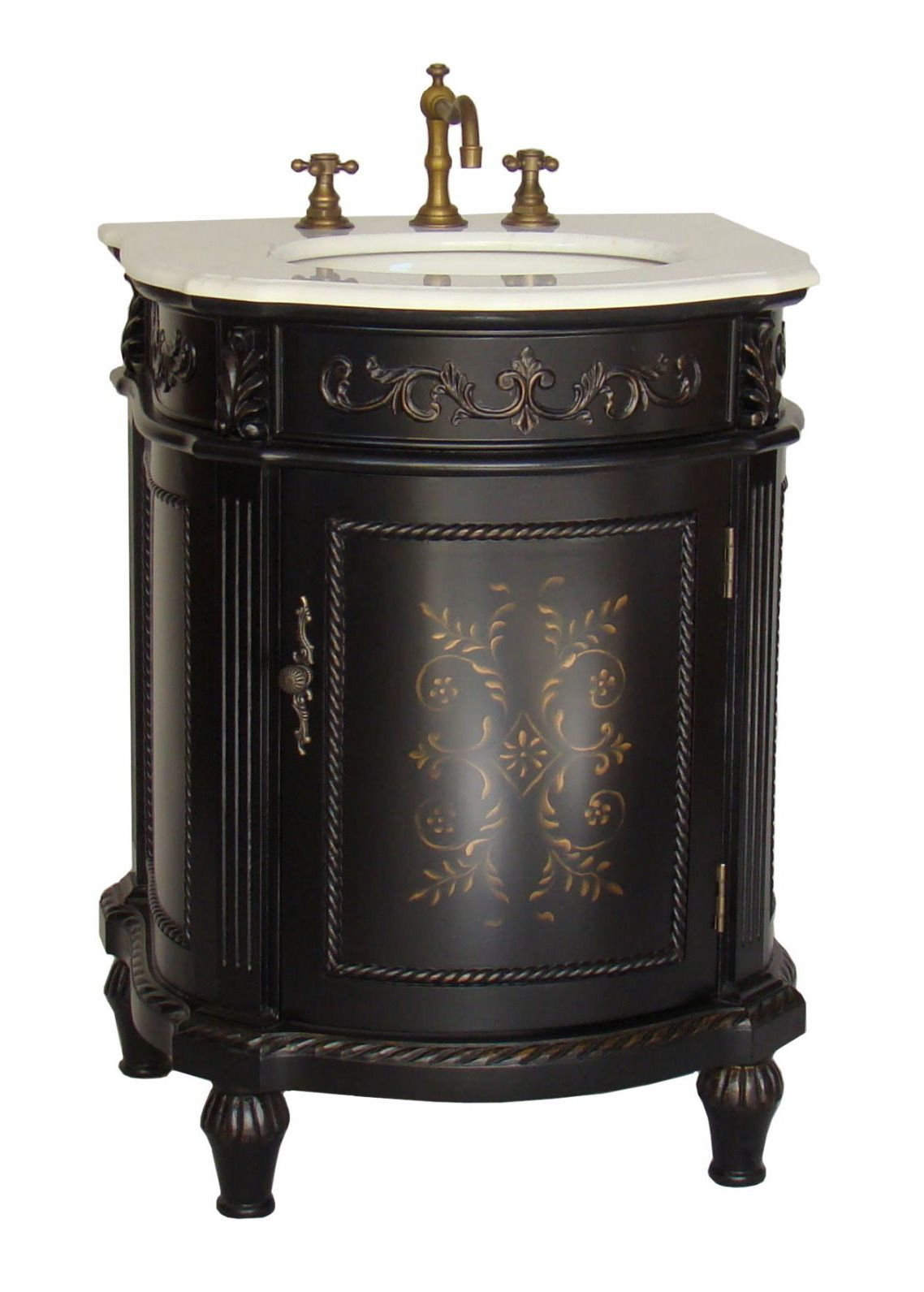 . 26 inch Adelina Petite Antique Bathroom Vanity Mat Black Finish
