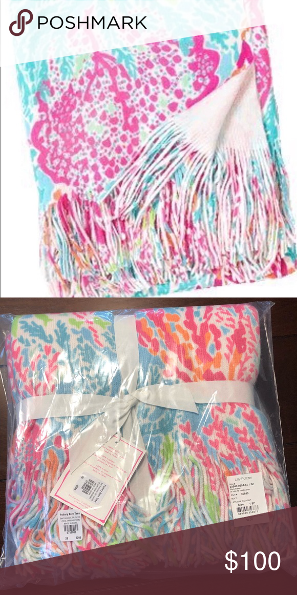 """258f6f9fdc0479 NIP Lilly Pulitzer for Pottery Barn Throw Blanket New and unopened.  Measures 46"""" x 56"""". 100% acrylic and soft. Pattern: Let's Cha Cha Lilly  Pulitzer Other"""