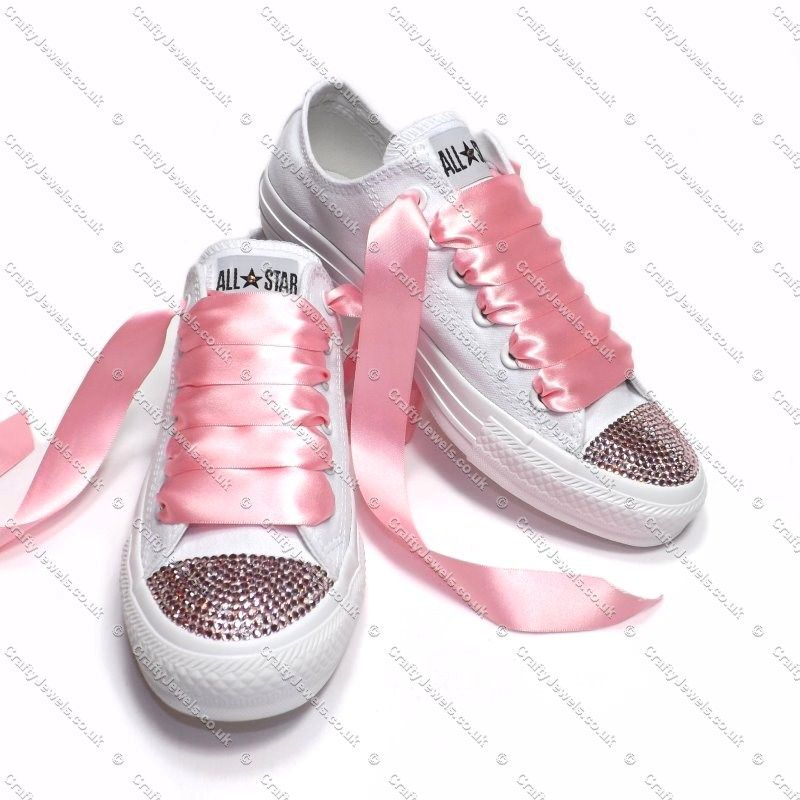 3e740d2983f1 Pure White Converse With Swarovski or Hi-Grade Glass Diamante Crystals Toe  s - Baby Pink Swarovski or Hi-Grade Glass Diamante Crystals this is the