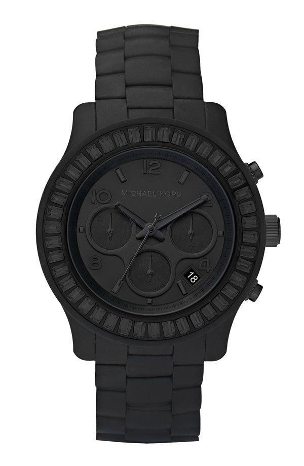 Michael Kors Runway Silicone Baguette Watch Matte Black Watches Mens Watches Black Black Watch
