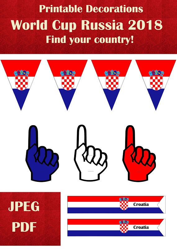 photo relating to Flags of the World Printable Pdf known as World wide cup Russia 2018 decorations Croatia Printable very low
