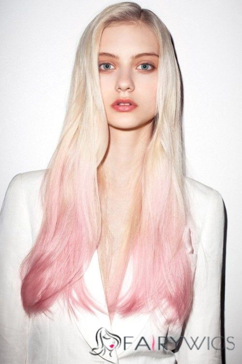22 Inch Straight Blonde To Pink 100 Human Hair Ombre Wigs With