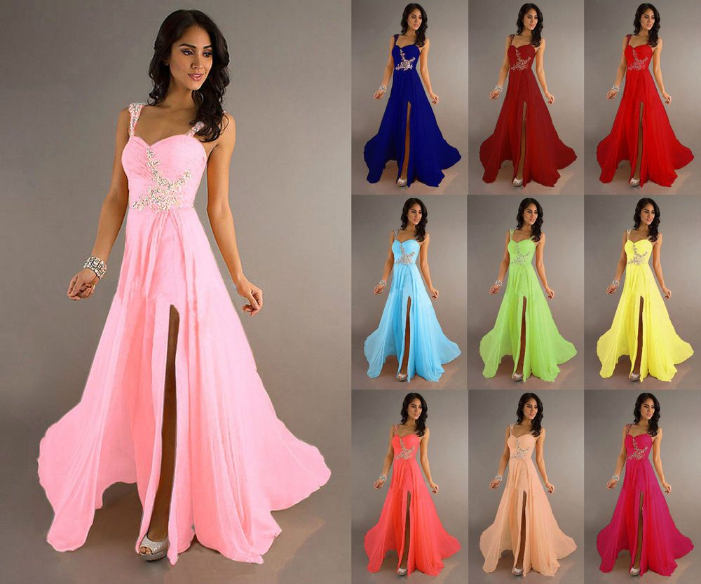 STOCK New Chiffon Evening Formal Party Ball Gown Prom Bridesmaid ...