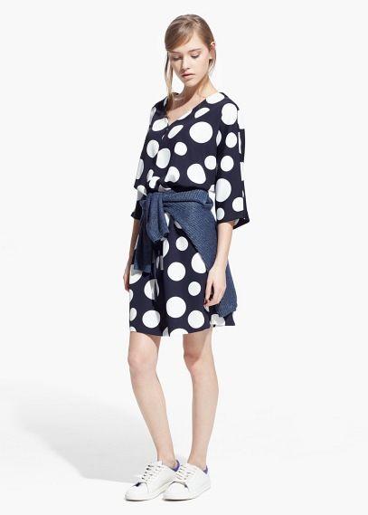 Gestippelde jurk | MANGO