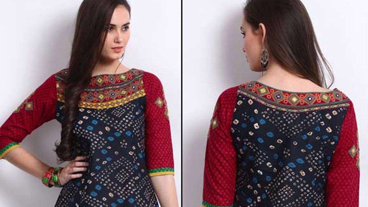 Boat neck design for kurti/blouse cutting and stitching step by step ...