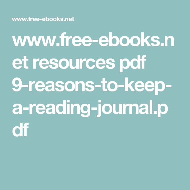 Www Free Ebooks Net Resources Pdf 9 Reasons To Keep A Reading