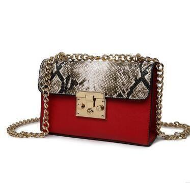 dd5f3427e63 Women s Faux Snake Leather Chain shoulder bag