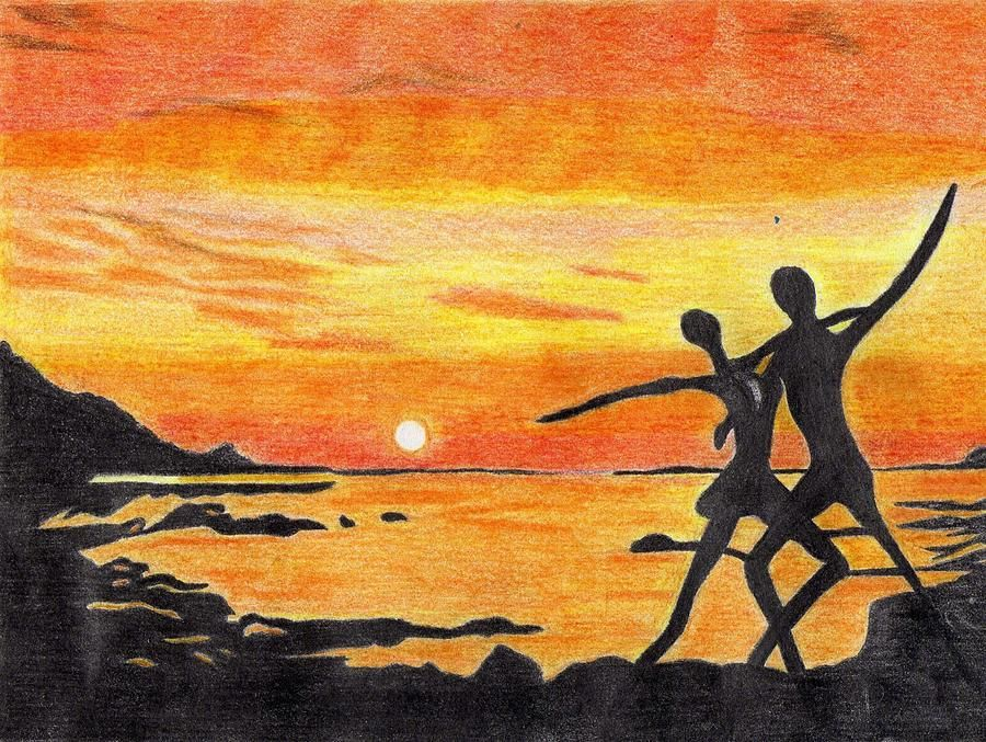 Love drawing love dance with the sunset by cherryl fernandez