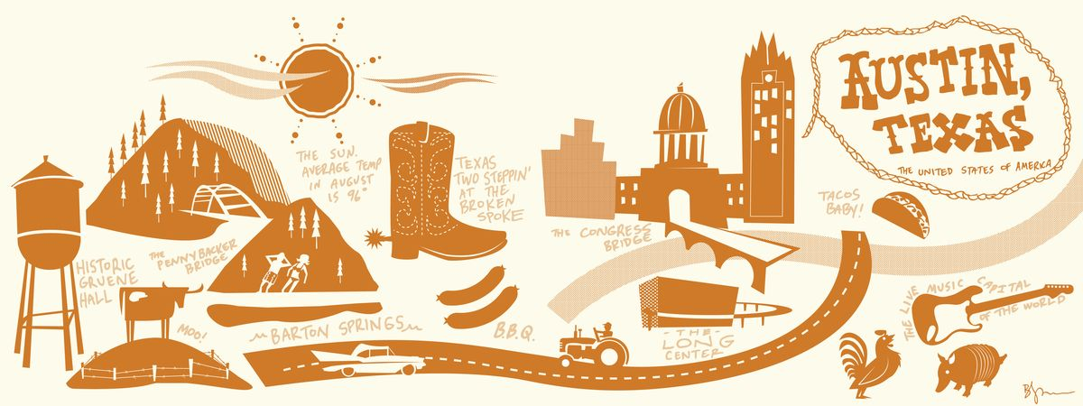 They Draw Travel Is The Coolest Site Makes Me Wish I Could Draw I Would Love To Experience Cities Through F Texas Illustration Austin Texas Illustrated Map