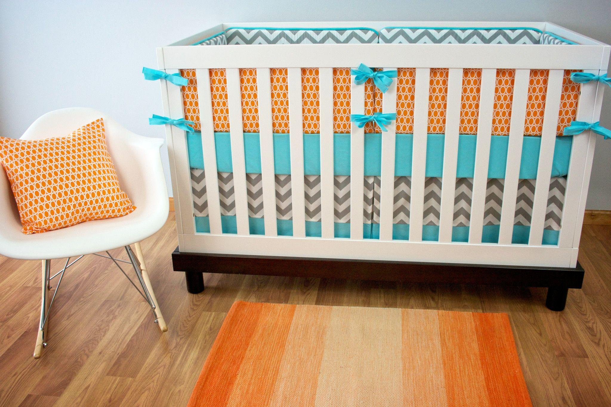 Aqua Orange Crib Set Baby Bedding Crib Bedding Gender Neutral Nursery Modified Tot Gender Neutral Nursery