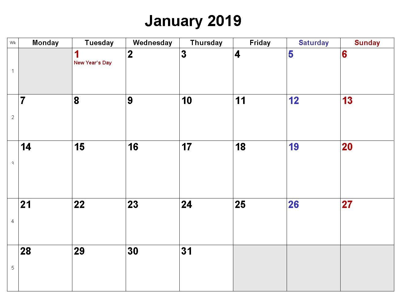 January Calendar Download In Word Excel Formats