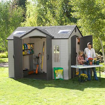 Lifetime Brighton 10 X 8 Side Entry Shed Beautiful 1250 00 Costco Two Sets Of Doors Outdoor Storage Sheds Shed Play Houses