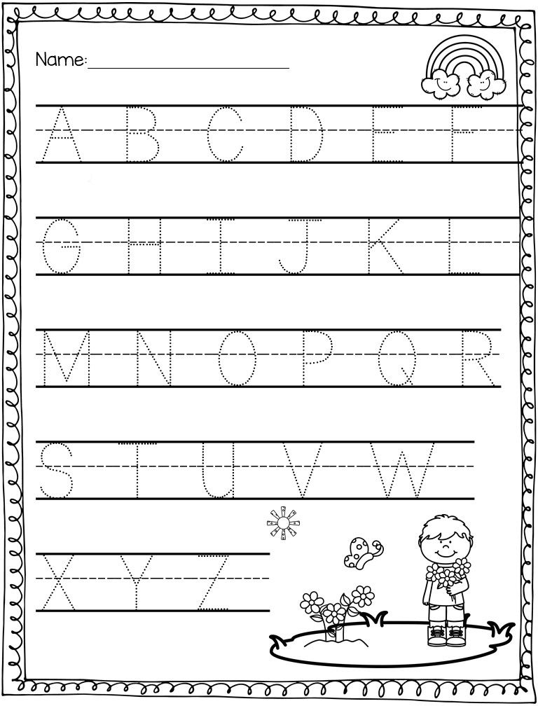 Spring Math & Literacy Packet Preschool writing