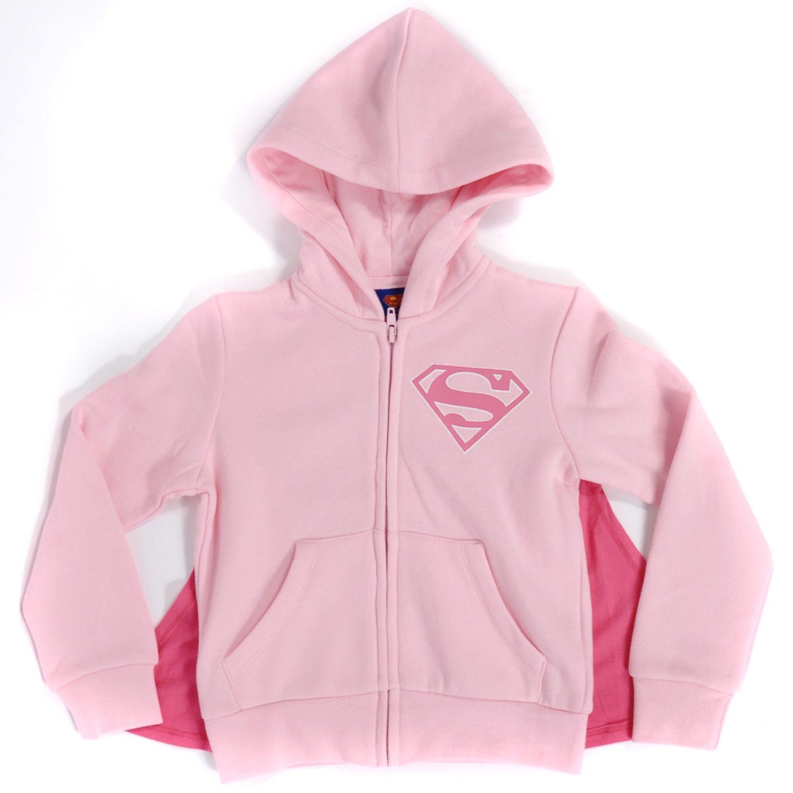 Supergirl Girls Pink Caped Hoodie
