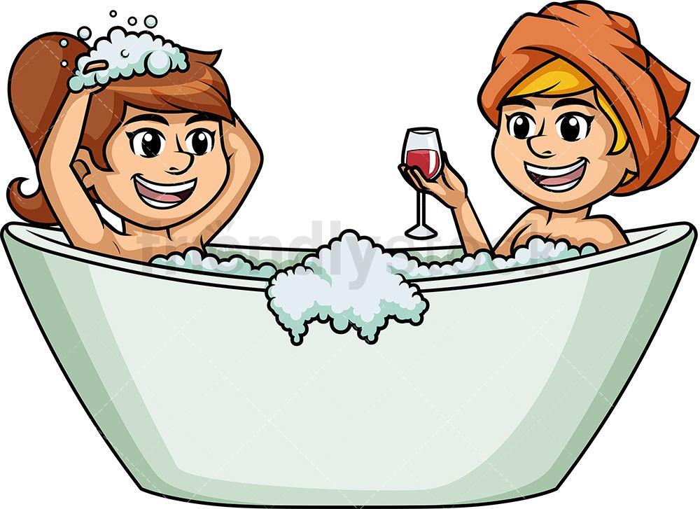 Teen lesbians in bathtub