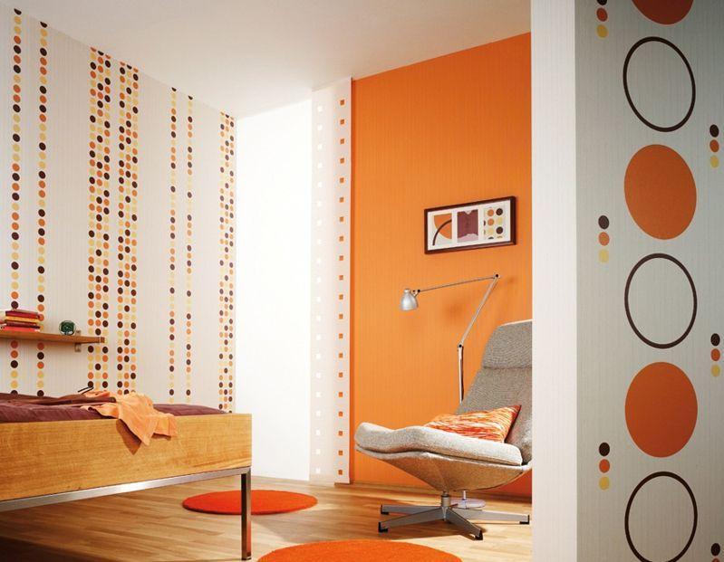 Colore Arancione Pareti Camera Da Letto.Cerchi Pieni E Vuoti Per Decorare Le Pareti Bianche Con Colori