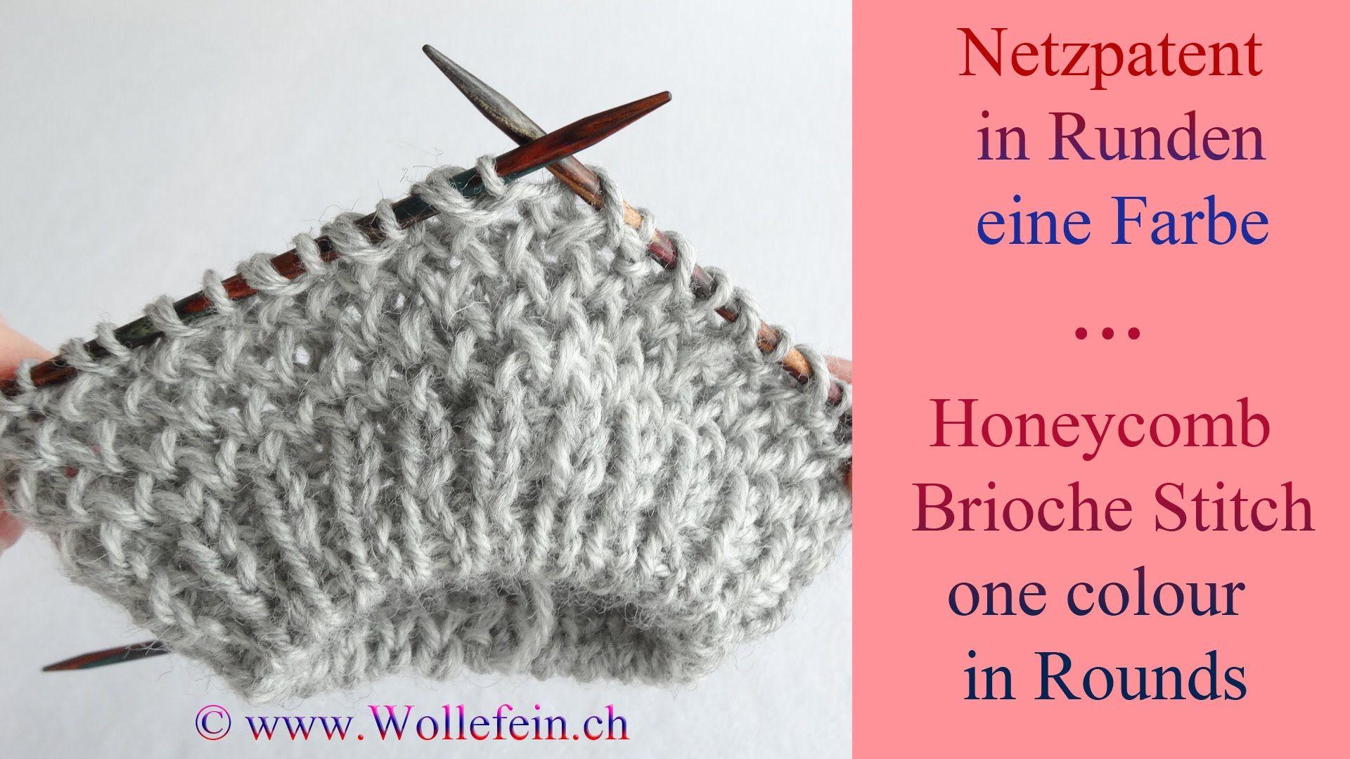Netzpatent in Runden eine Farbe - Honeycomb Brioche Stitch in Rounds ...