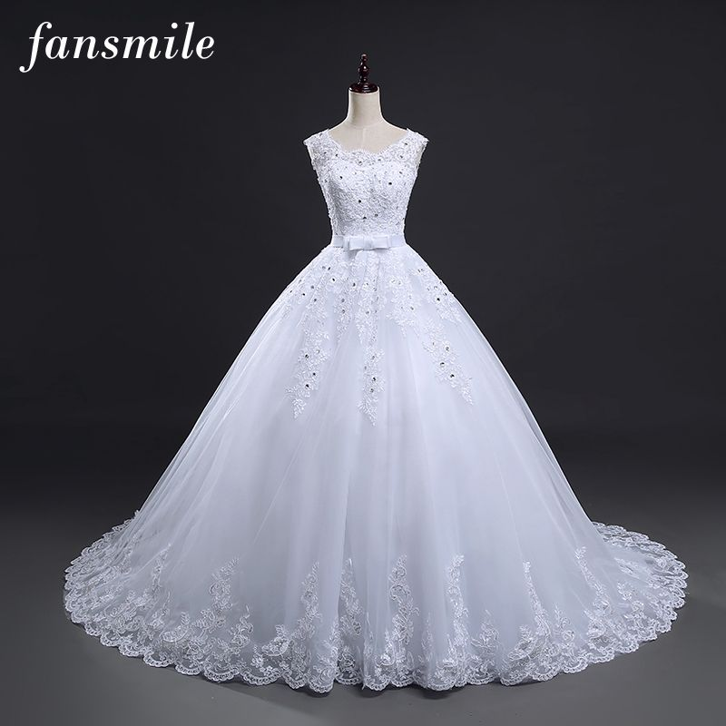 Wedding Dress Long Train Vintage Lace-Up Bridal Gown //Price ...