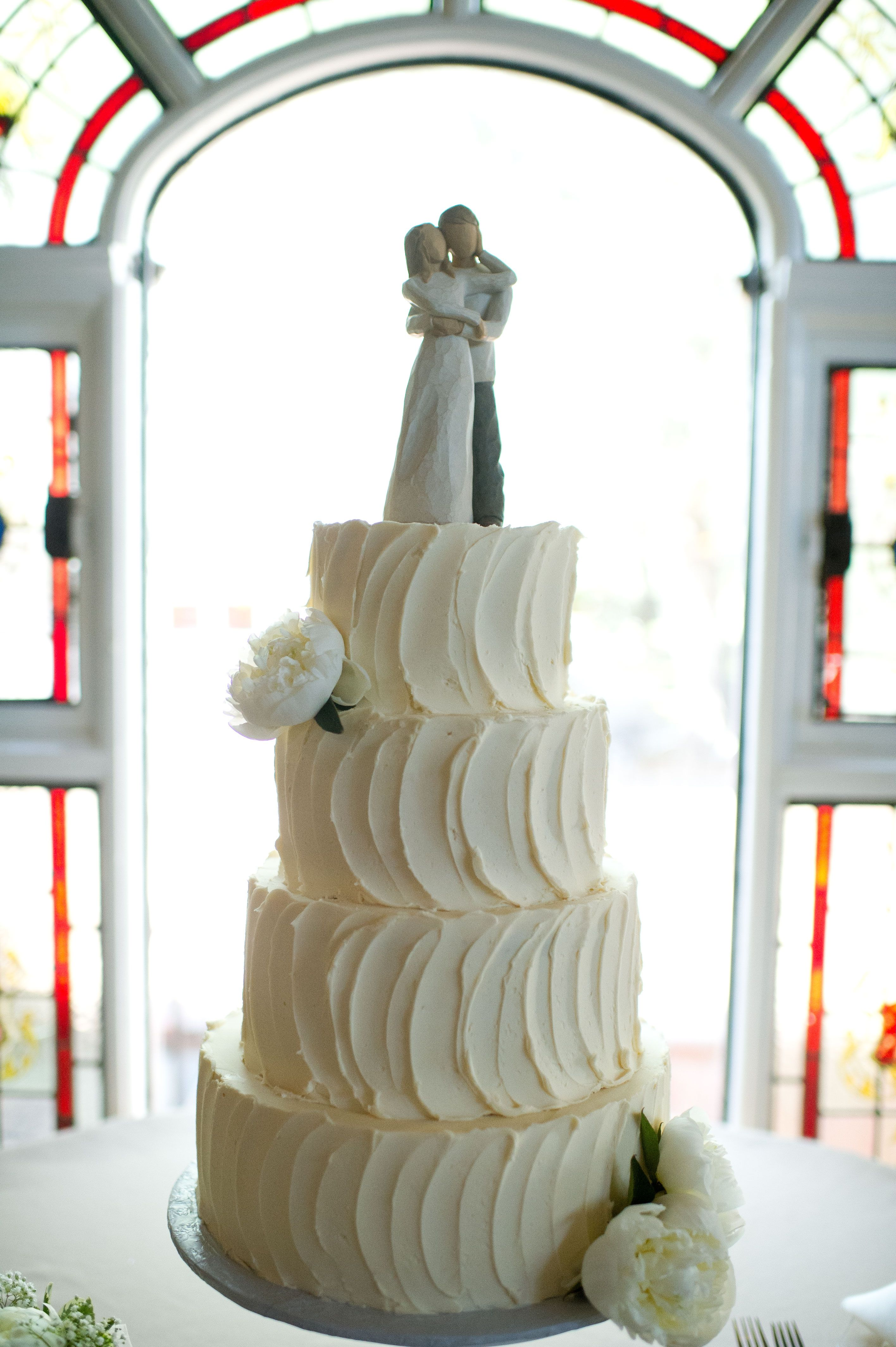 simple & elegant swirled buttercream wedding cake perfect Even