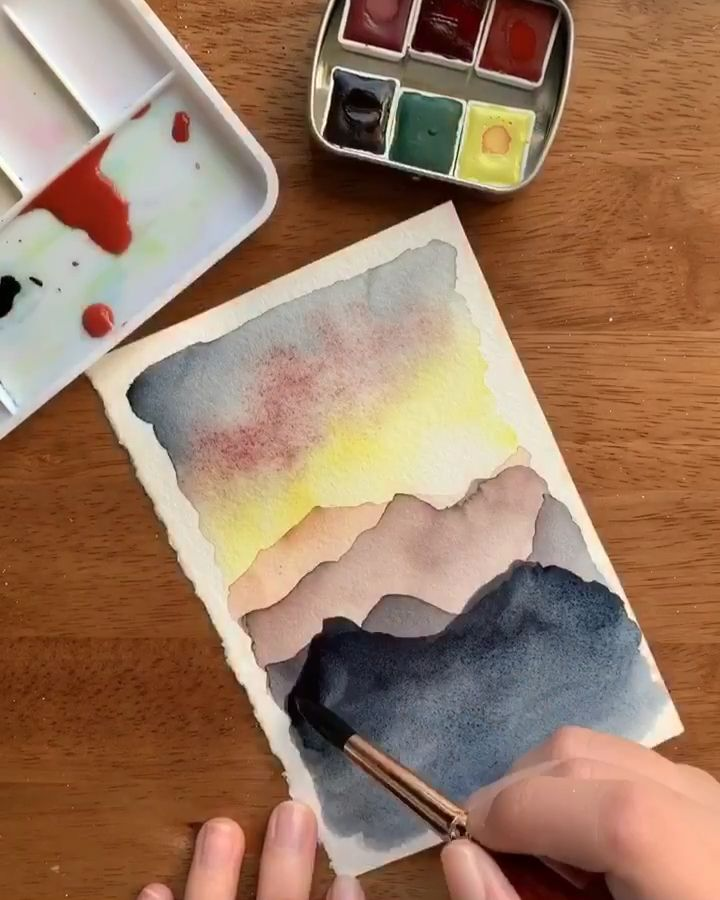 Watercolor landscape tutorials  #easypaintings