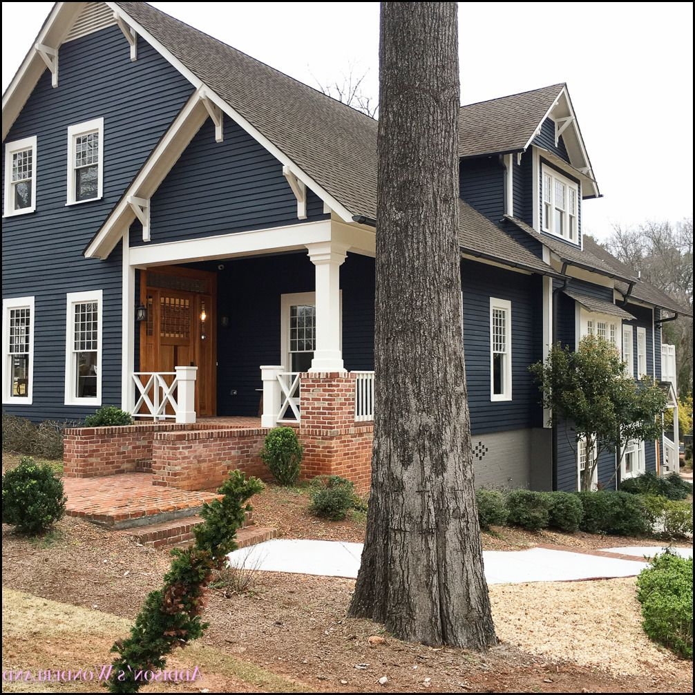 Image Result For Blue Gray Siding With Brick And White Trim And Brown Roof House Exterior Blue Brick Exterior House Farmhouse Exterior Colors