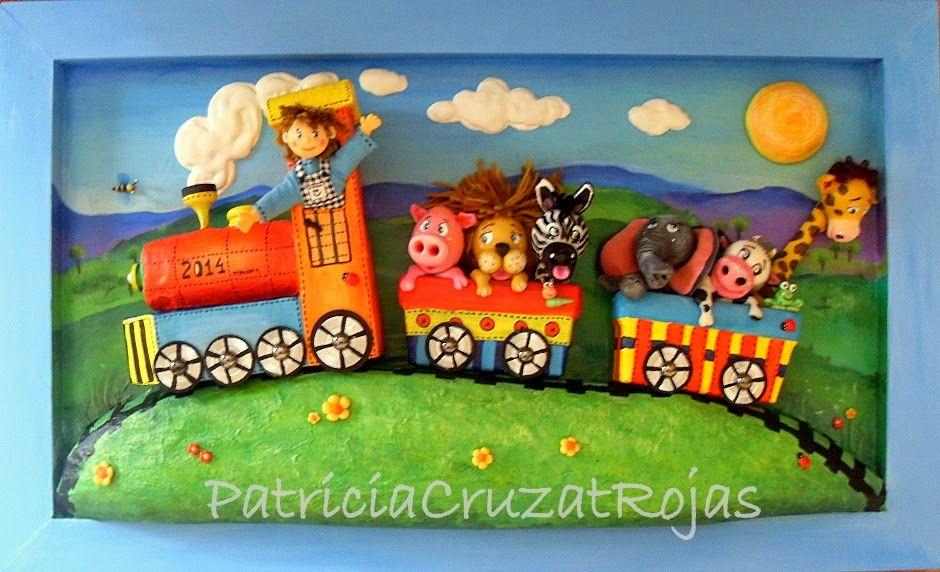 Tren con Animales, cuadro infantil en relieve Patricia Cruzat ...