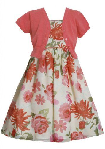 Little Girl 4 6x Dress Coral Floral Print Chiffon Dressjacket Set