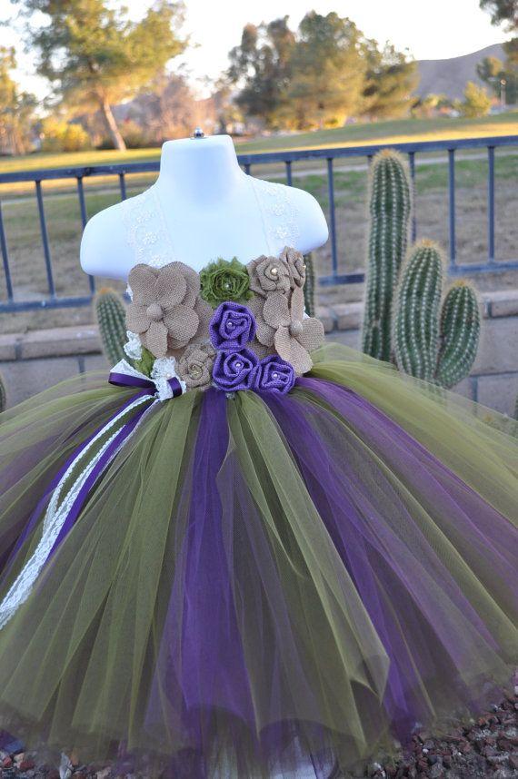 Country Rustic Flower Girl Dress,Plum Olive Green Flower Girl Dress ...