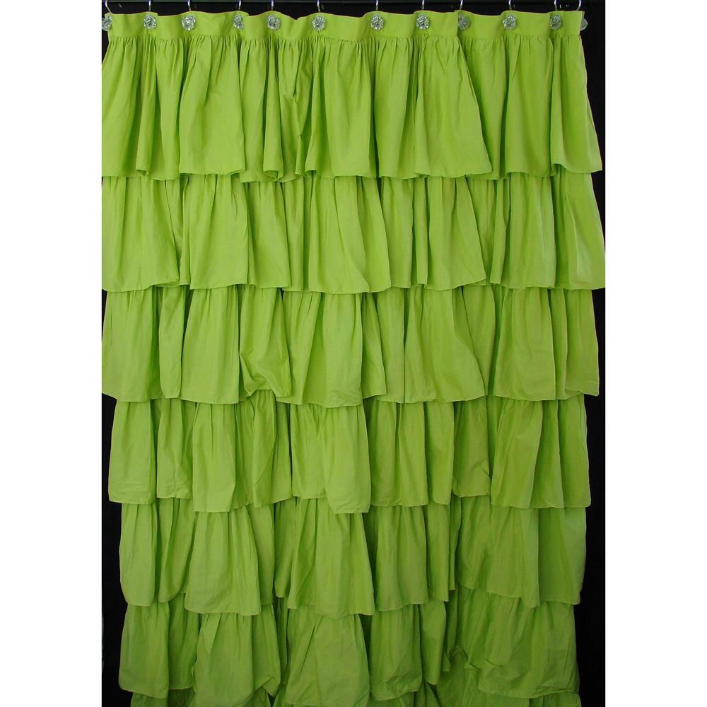 Green Ruffled Shower Curtain Could Be A Backdrop