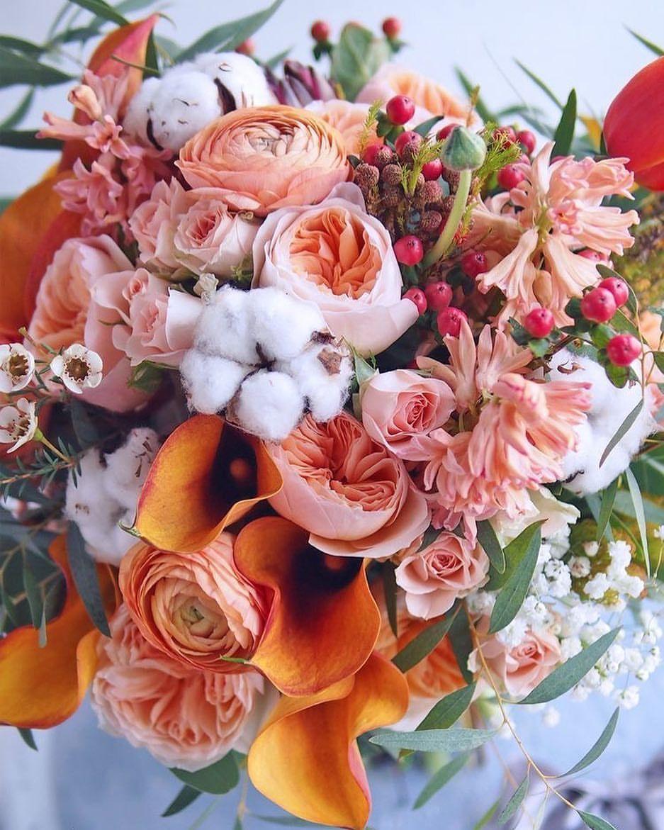 Wedding bride bridal bouquet fall autumn orange coral blush pink ...