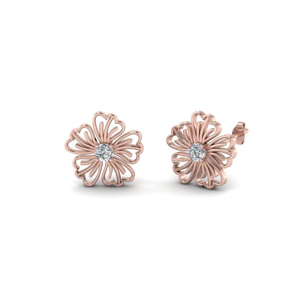 Hibiscus Flower Diamond Stud Earring In 14k Rose Gold Black Diamond Earrings Emerald Earrings Studs Flower Earrings Studs