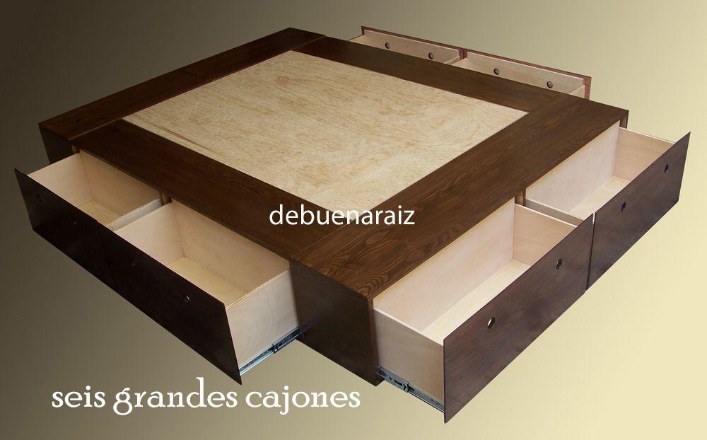 Base cama minimalista recamara colchon cajones for Base de cama matrimonial con cajones