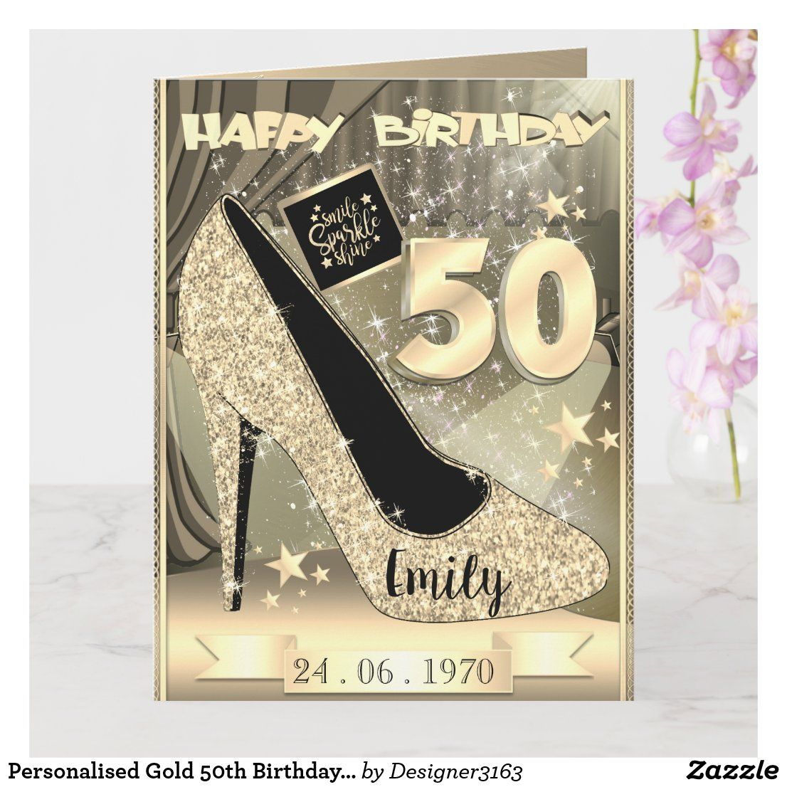 Personalised Gold 50th Birthday Card Idea For Her Zazzle Com In 2021 Birthday Cards For Women 50th Birthday Cards 50th Birthday Cards For Women