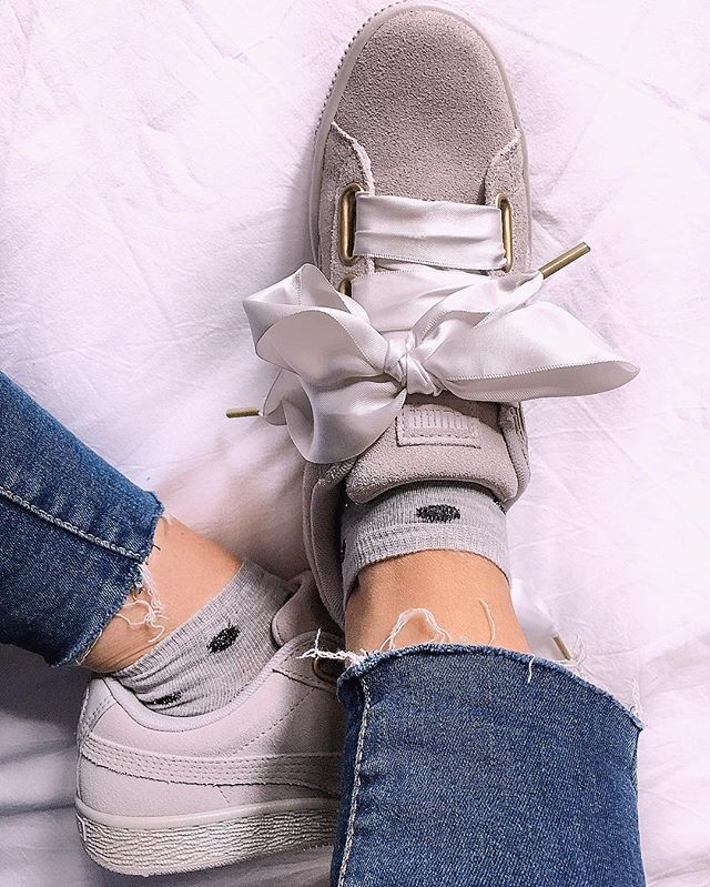 reputable site 724a4 95874 puma heart suede denim
