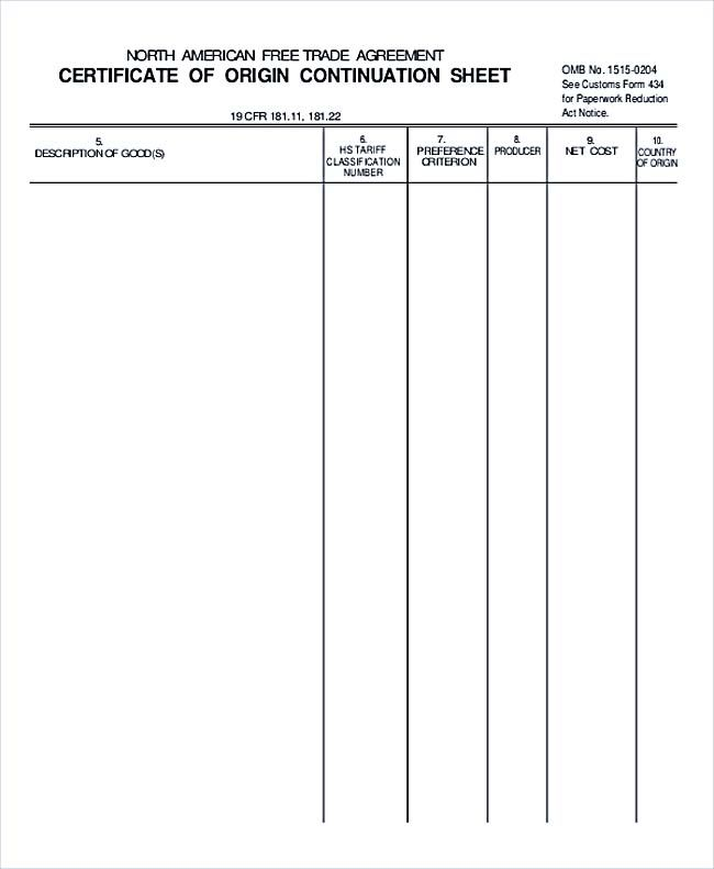 Certificate Of Orgin Continuation Sheet  Basic Understanding In
