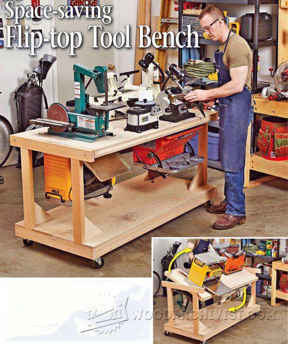 1037 Flip Top Tool Bench Plans Wood Stuff Pinterest
