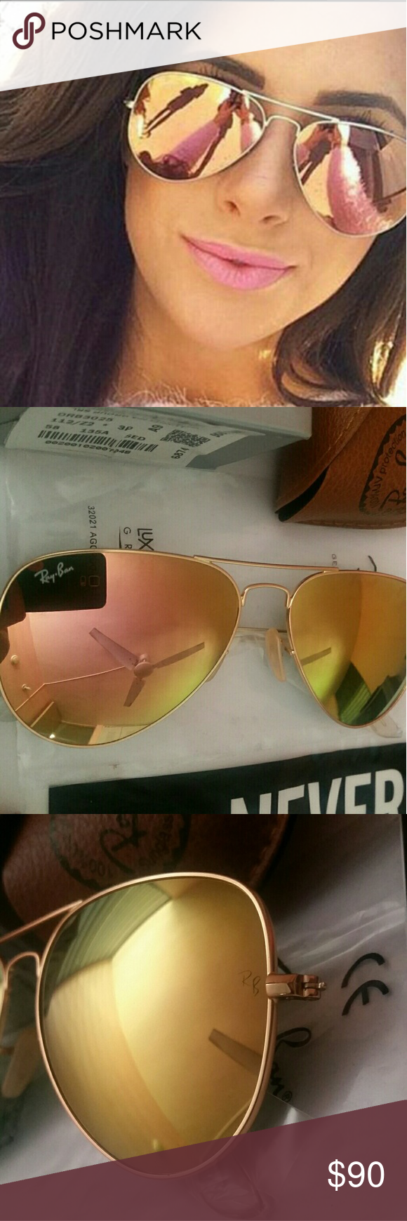 Authentic! Ray-Ban 3025 112/Z2 Copper / Rose Gold NO LOW BALL OFFERS! NO TRADES! Only sell 100% Brand New & Authentic Ray-Ban Sunglasses. PRODUCT DETAILS: Model: RB 3025 112/Z2 Style: aviator/pilot Frame color: gold Lens color: copper flash/rose gold(not polarized) Fit: standard Lens size: 58 Bridge/temple size: 14/135 Protection: 100% U.V. Protection Made in: Italy Retail Price: $200 These pair come with the original retail packaging as seen.(Case, cloth, booklets) FAST SHIPPING! (SAME DAY…